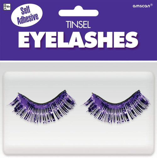 Amscan Spirit Self-Adhesive Purple Tinsel False Eyelashes