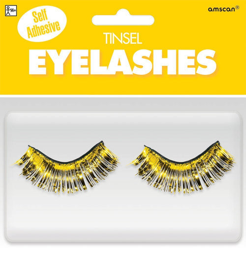 Amscan Spirit Self-Adhesive Yellow Tinsel False Eyelashes