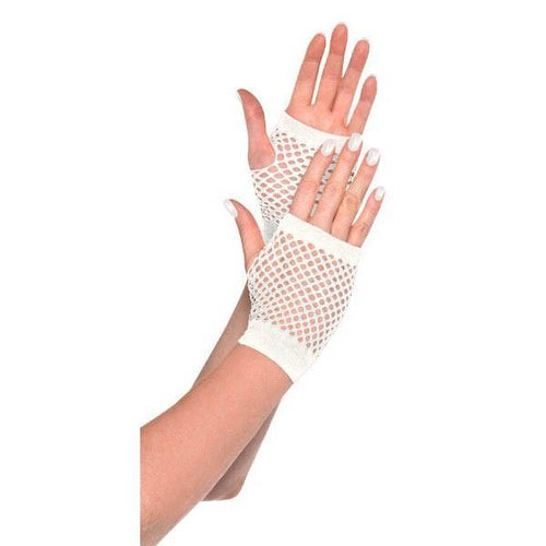 Amscan Spirit White Fishnet Glovelettes