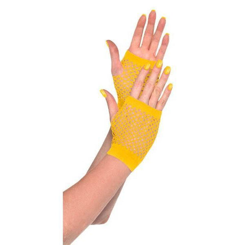Amscan Spirit Yellow Fishnet Glovelettes