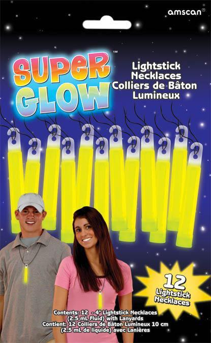 Amscan Spirit Yellow Glow Stick Necklaces 12ct