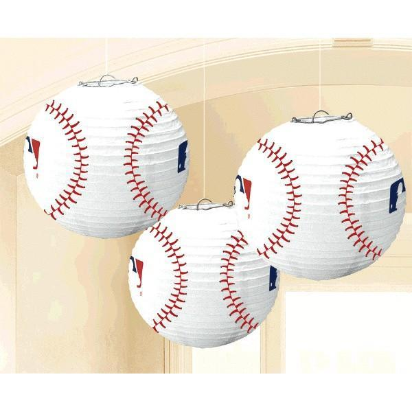 Amscan Sports MLB Baseball Paper Lanterns 3ct