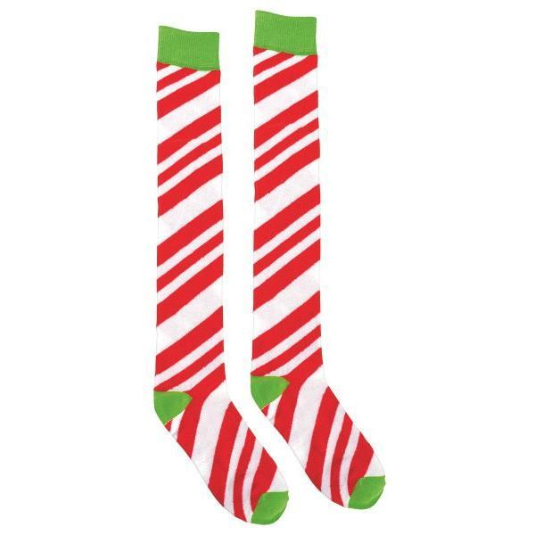 070ec46d96d3b Candy Cane Striped Over-the-Knee Socks