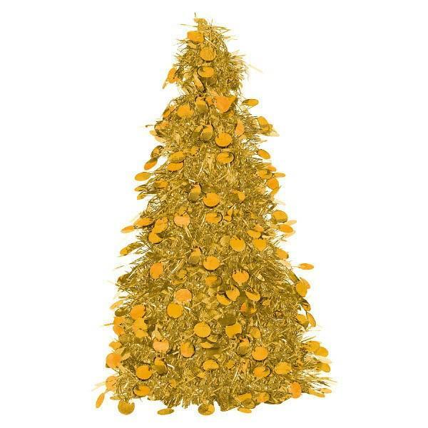 Amscan Staging Gold Tinsel Christmas Tree - 1