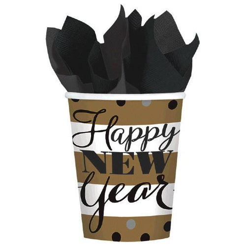 Amscan Staging Golden New Year 9oz Cups 8ct
