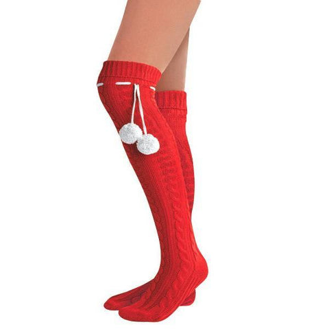 2a6fd581db3 Candy Cane Striped Over-the-Knee Socks