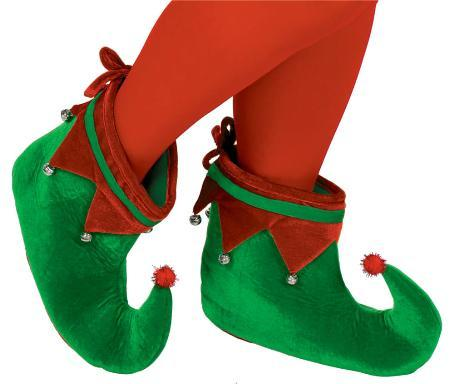 Amscan Staging Shoes Green & Red Elf