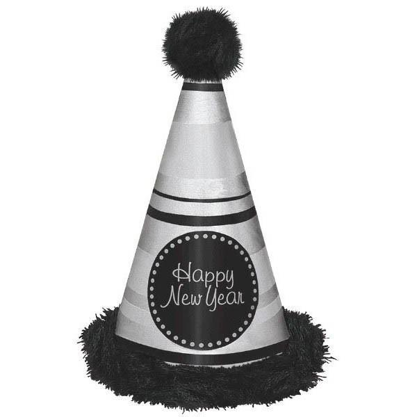 Amscan Staging Silver & Blk Marabou NYE Cone