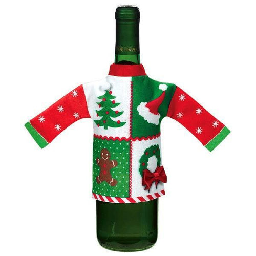 Amscan Staging Ugly Sweater Wine Bottle Cover