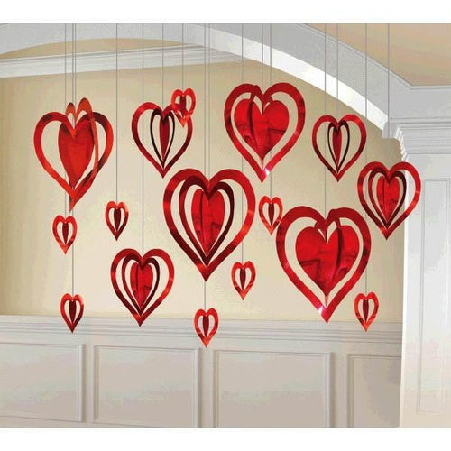 AMSCAN Valentines 3-D Heart Kit Hanging Foil Decorations 16ct