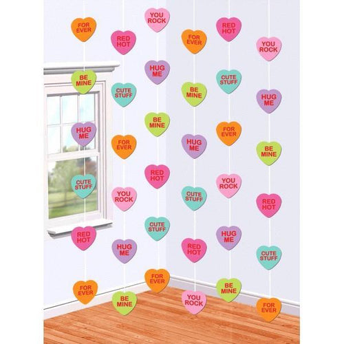 AMSCAN Valentines Candy Hearts String Decorations