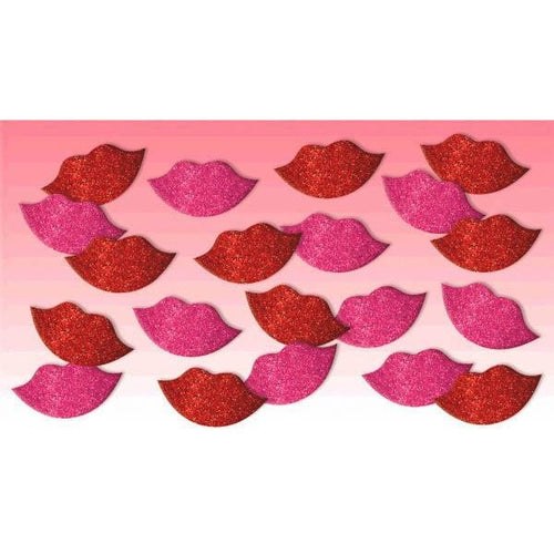 AMSCAN Valentines Glitter Lips Stickers