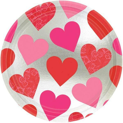 AMSCAN Valentines Key To Your Heart Valentine's Day Lunch Plates 8ct