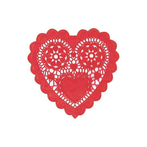 AMSCAN Valentines Red Heart Doilies 28ct