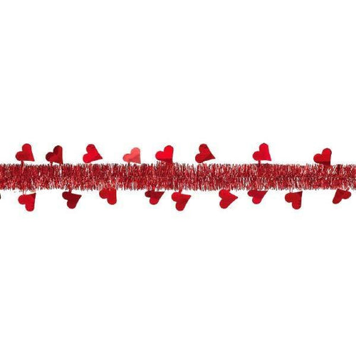 AMSCAN Valentines Red Heart Tinsel Garland 9ft