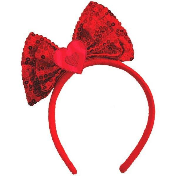 AMSCAN Valentines Red Sequin Valentine Bow Headband