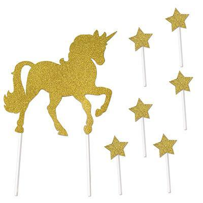 Biestle Company Birthday Unicorn Glitter Gold Cake Toppers