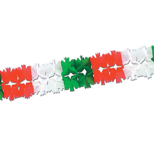 Biestle Company Fiesta Red, Whie & Green Pageant Tissue Garland