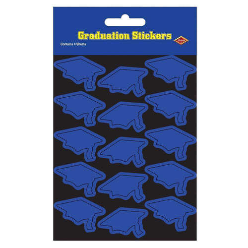 Biestle Company Graduation Blue Grad Cap Stickers 60ct