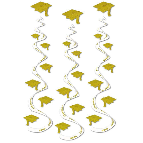 Biestle Company Graduation Gold Graduation Cap Whirl Decorations