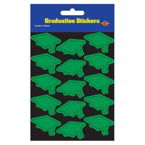 Biestle Company Graduation Green Grad Cap Stickers 60ct