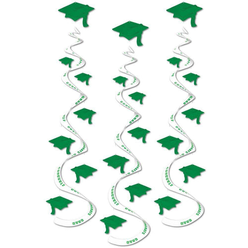 Biestle Company Graduation Green Graduation Cap Whirl Decorations