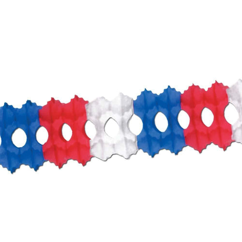 Biestle Company Patriotic Red, White & Blue Arcade Tissue Garland 12ft