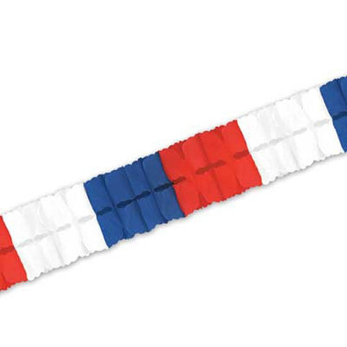 Biestle Company Patriotic Red, White & Blue Tissue Garland 12ft