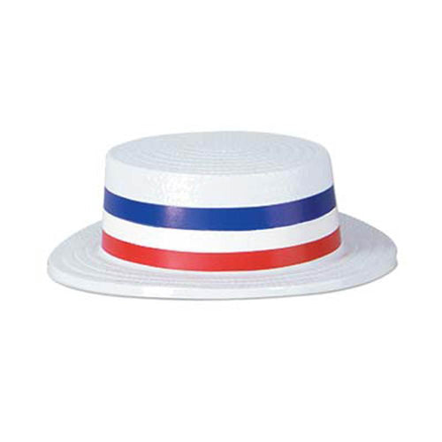 Biestle Company Patriotic Skimmer Hat with Red, White & Blue Band