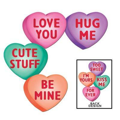 "Biestle Company Valentines Candy Heart Cutouts 14"" 4pc"