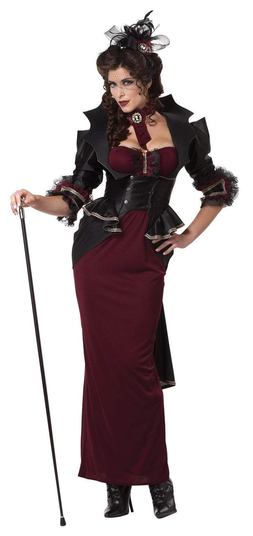 California Costumes Costumes L / BLACK/BURGUNDY Lady Of The Manor Vampire Costume
