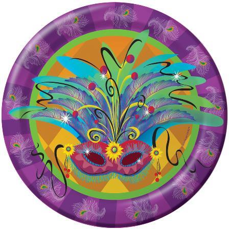 CREATIVE CONVER MARDI GRAS Masquerade Lunch Plates 8ct