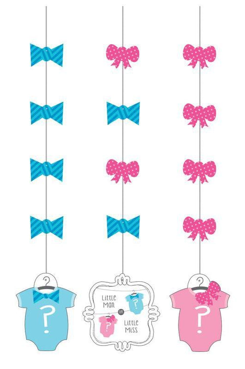 Creative Converting Baby Shower Bow or Bowtie Hanging Decorations 3ct