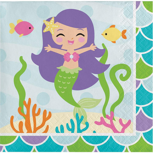 Creative Converting Birthday Mermaid Friends Beverage Napkins 16ct
