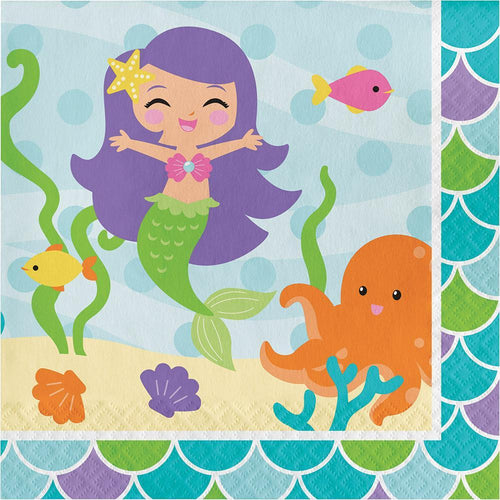 Creative Converting Birthday Mermaid Friends Lunch Napkins 16ct