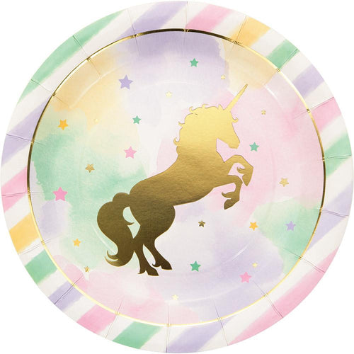 Creative Converting Birthday Unicorn Sparkle Lunch Plates 8ct