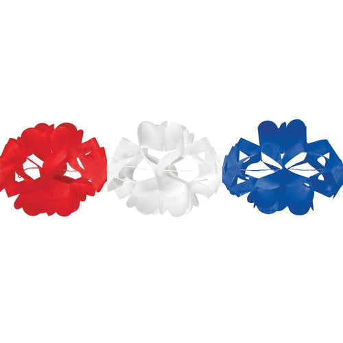 Creative Converting Patriotic Red, White & Blue Tissue Garland 10Ft