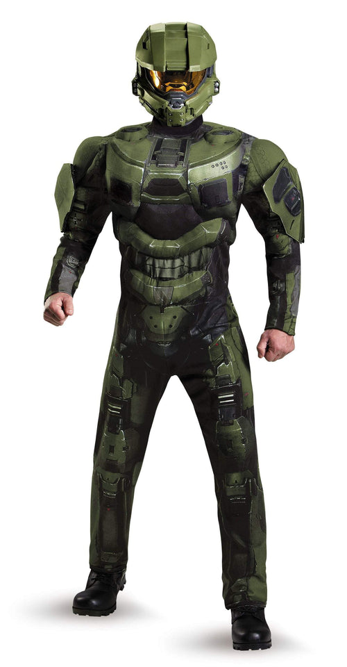 Disguise Costumes Adult Master Chief Deluxe Muscle Costume - Halo