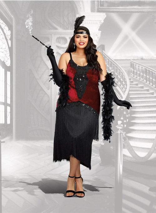 Dreamgirl costumes 1X Dreamgirl Women's Luxe Plus-Size Million Dollar Baby Flapper Costume Dress