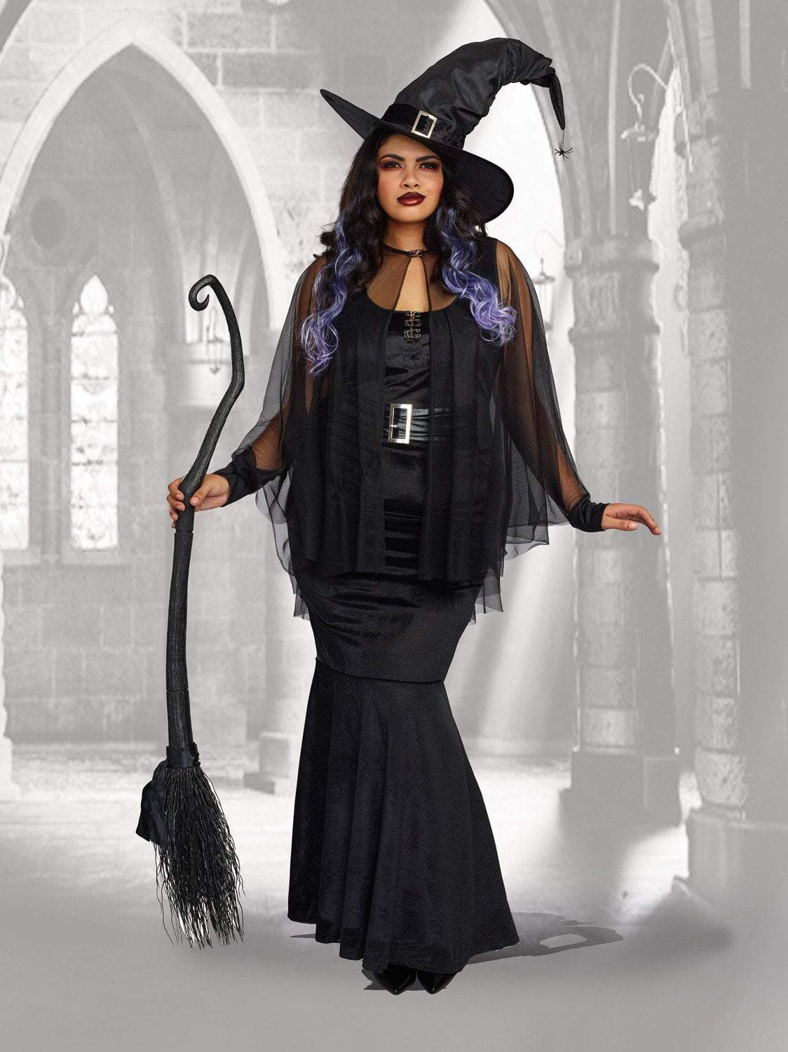 Dreamgirl Womenu0027s Plus Size Bewitching Beauty Velvet Witch Costume Gown