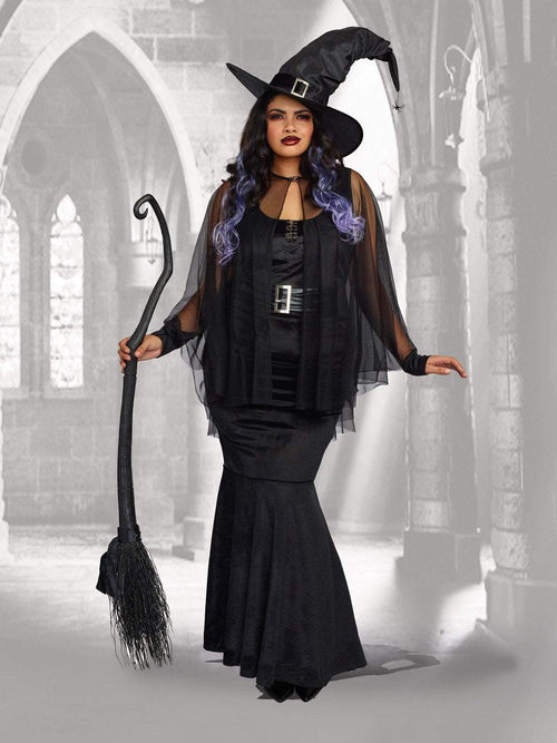Dreamgirl Costumes 1X Dreamgirl Women's Plus-Size Bewitching Beauty Velvet Witch Costume Gown