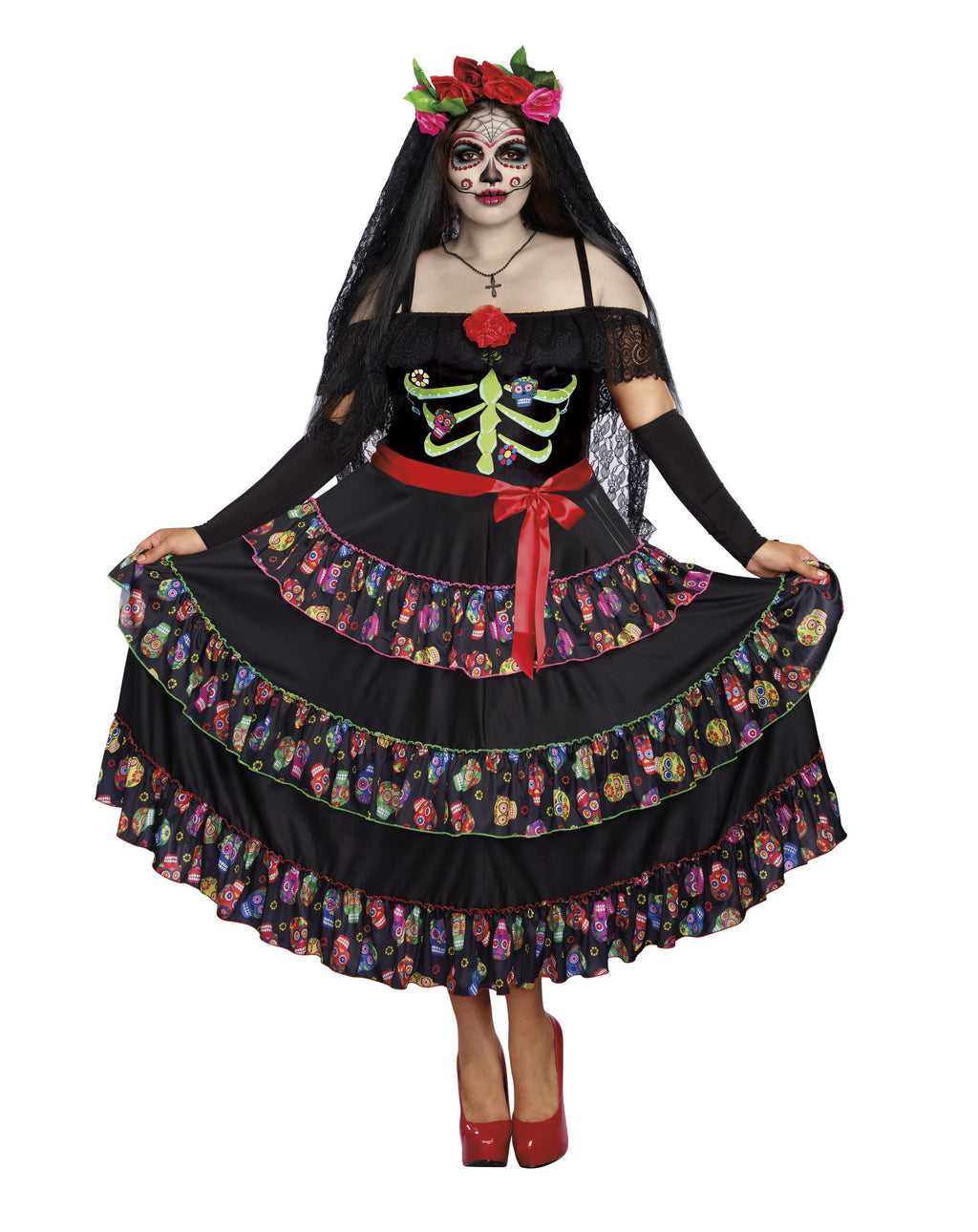 Dreamgirl Costumes 1X Lady of the Dead Plus Costume - Day of the Dead