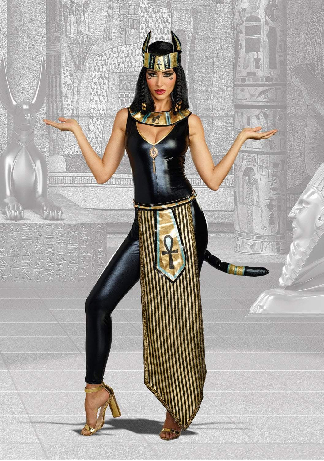 Dreamgirl Costumes Dreamgirl Women's Egyptian Kitty Of De Nile Sexy Costume Jumpsuit