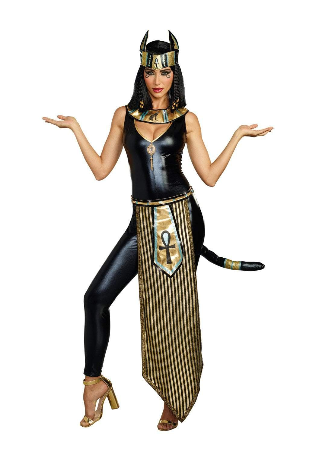 Dreamgirl Costumes LARGE Dreamgirl Women's Egyptian Kitty Of De Nile Sexy Costume Jumpsuit