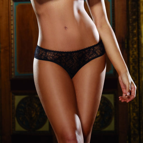 Dreamgirl Lingerie Lace Boy Short Panty with Ruffle Back