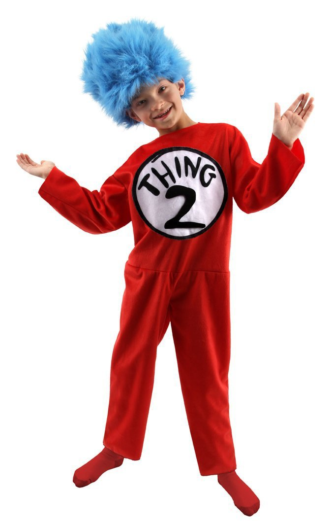 8417f08b Dr. Seuss Thing 1 & Thing 2 Kids Deluxe Costume (Medium 8-10) - Cat in the  Hat