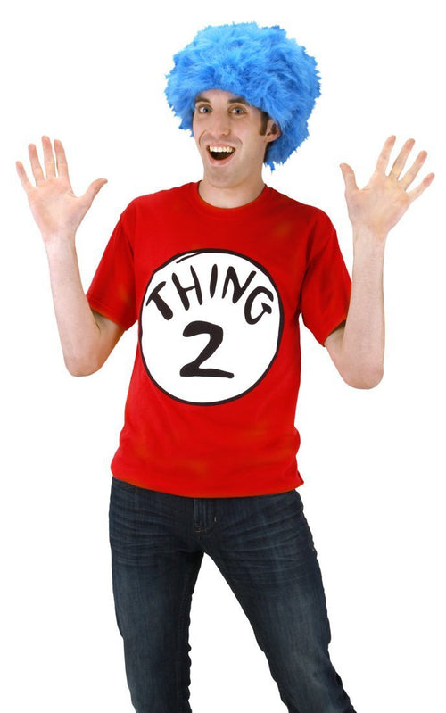 Elope Dr. Seuss Dr. Seuss Thing 2 Short Sleeve T-shirt with Wig Mens S