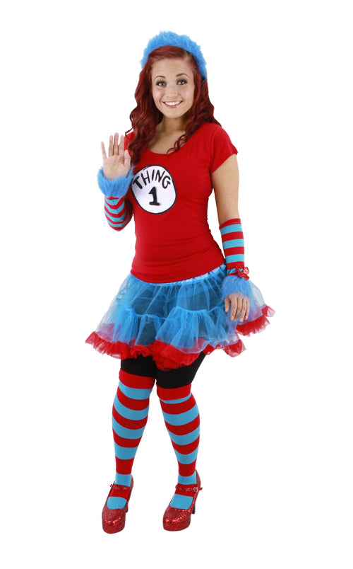 Elope Dr. Seuss Thing 1 & 2 Adult Tutu Costume (Large/X-Large) - Cat in the Hat