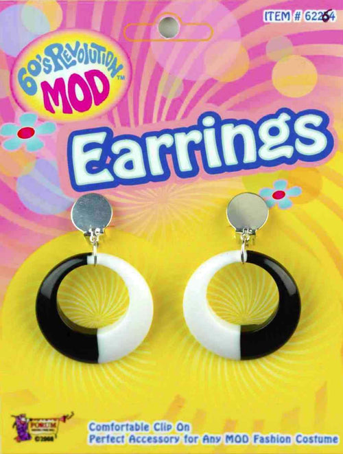 Forum Novelties 60s Black & White Mod Earrings