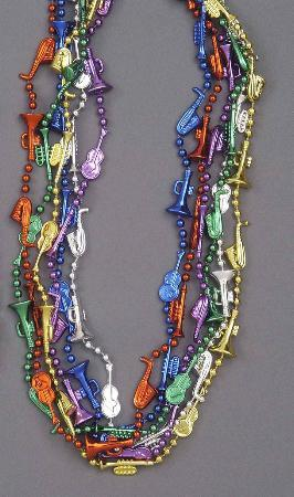 Forum Novelties MARDI GRAS Mardi Gras Mini Musical Instrument Beads 12ct
